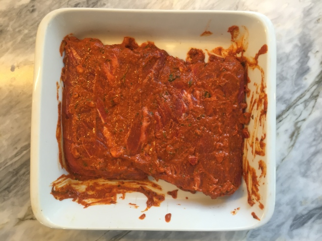 After coating both sides, cover casserole or seal bag and chill (you and the meat!) for at least 4 hours or overnight.