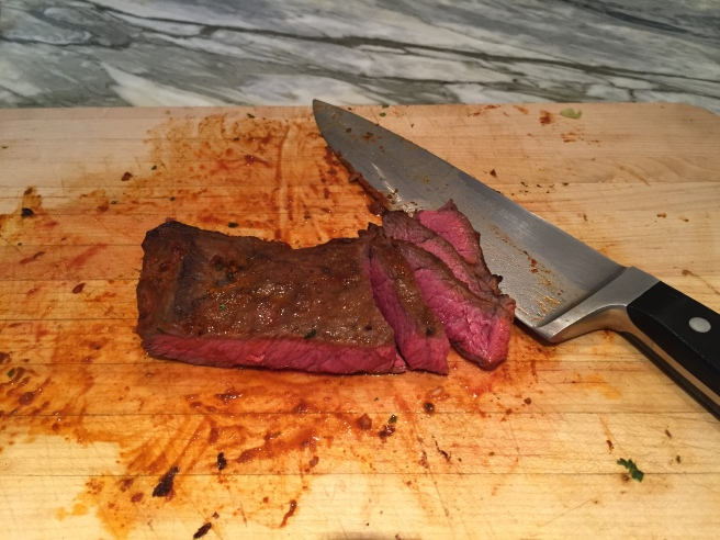 Remove your meat from the oven or grill, let it rest for 5-10 minutes before slicing.  Remember to cut across the grain.