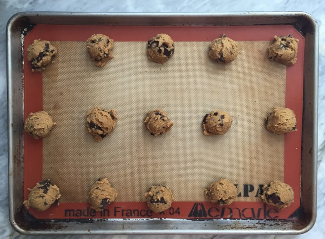 Cookie dough about to go into the oven.