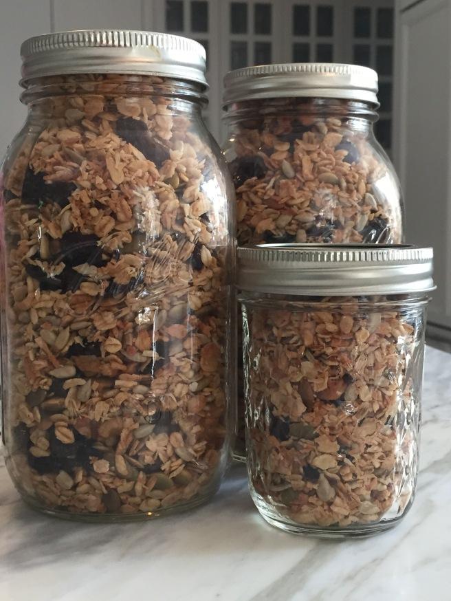 Granola in mason jars.