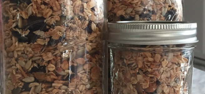 Granola in mason jars.