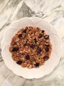 Maple Nut Granola in a cereal bowl.