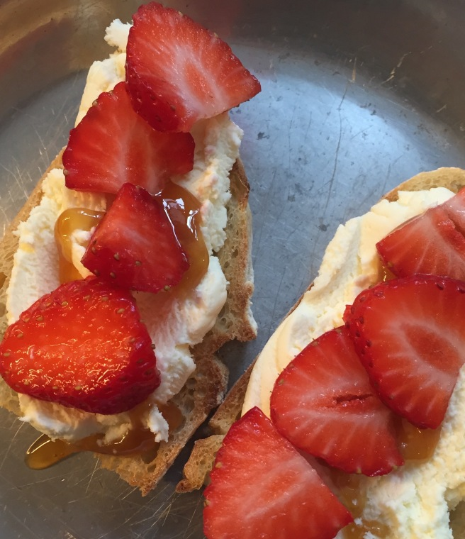 Strawberries and Ricotta on Toast