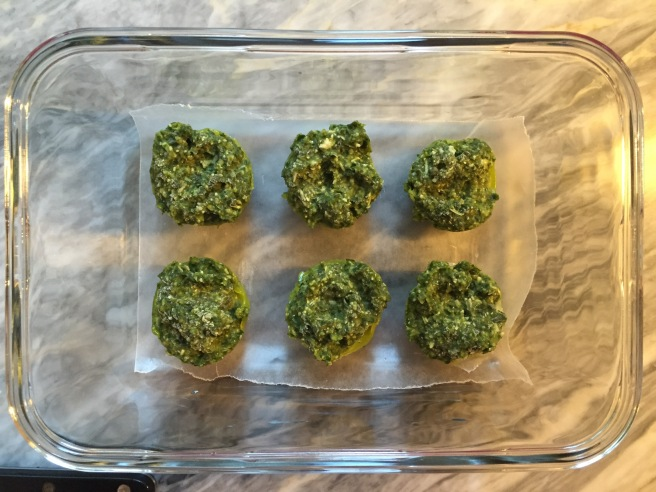 Pre-portioned amounts of frozen pesto