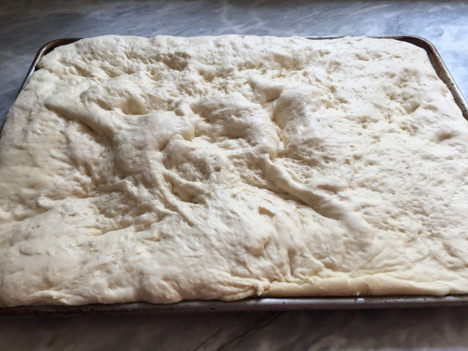 Focaccia dough after the second rise.