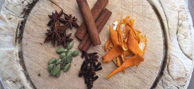Mulling spices- orange peel, cinnamon sticks, star anise, whole cloves and cardamon
