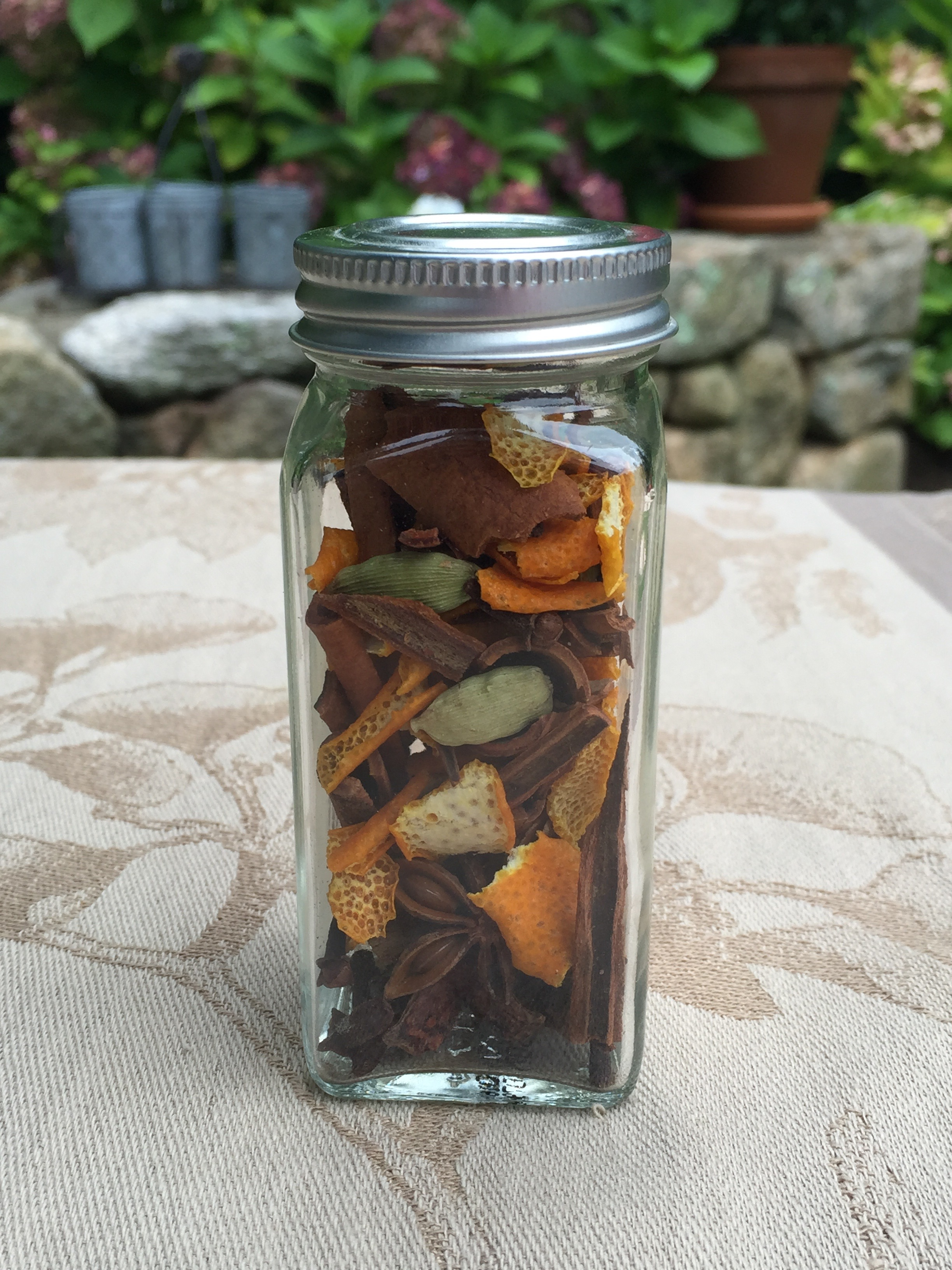 A jar of homemade mulling spices.