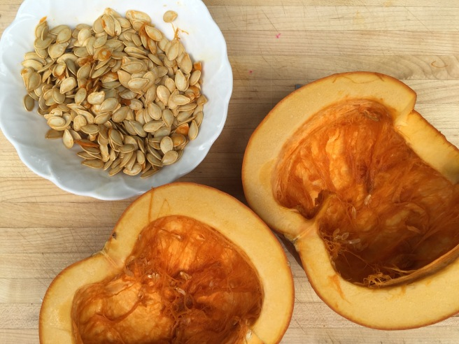 Sugar pumpkin halved and seeded.