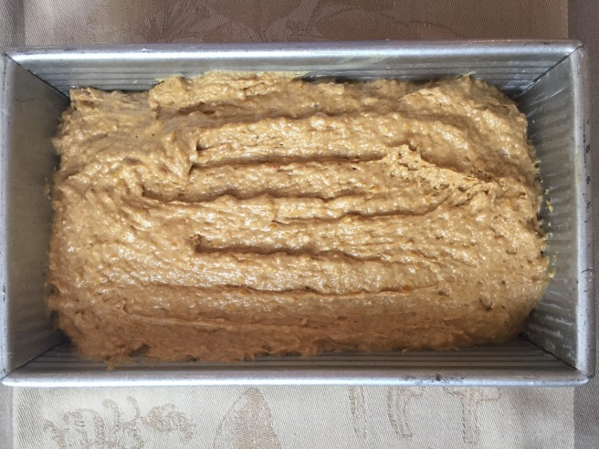Batter in greased loaf pan.