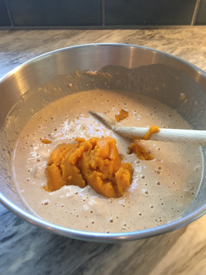 Stir the pumpkin purée into the batter.