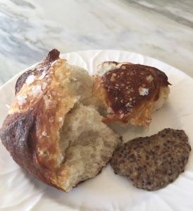 Pretzel bun with mustard