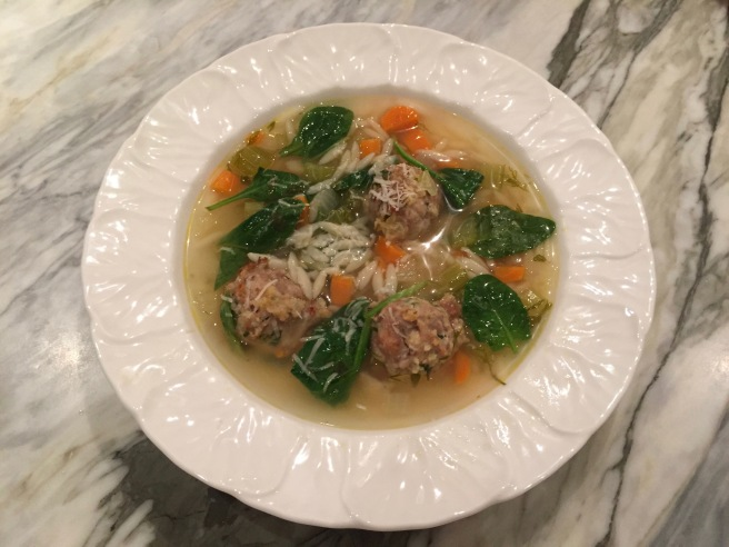 Italian Wedding Soup with meatballs, spinach and orzo
