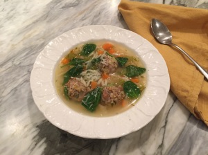 Italian Wedding Soup with meatballs, spinach, and orzo