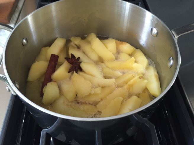 Simmering apples in sugar syrup with cinnamon stick, anise star, and cardamom pod.