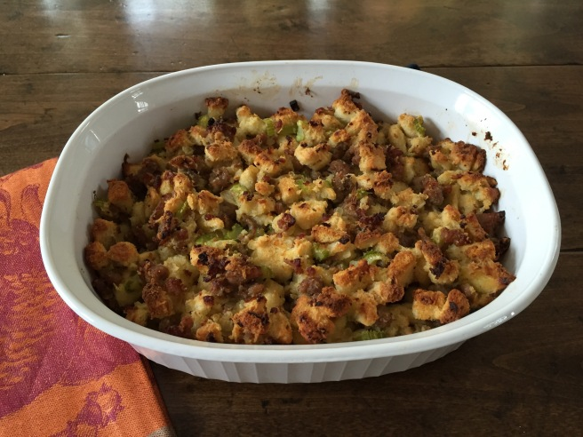Cooked stuffing in casserole.