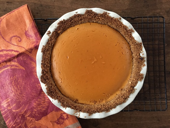 Baked sweet potato pie is cooling.