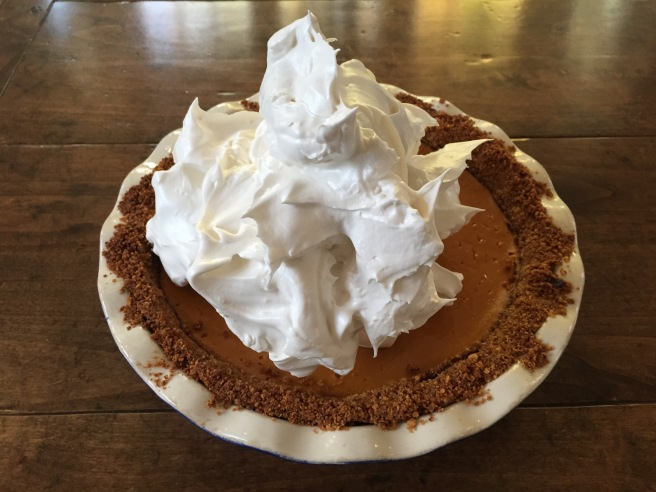 Mound of maple syrup meringue in center of pie.