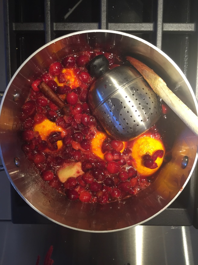 Simmering cranberry pineapple sauce ingredients