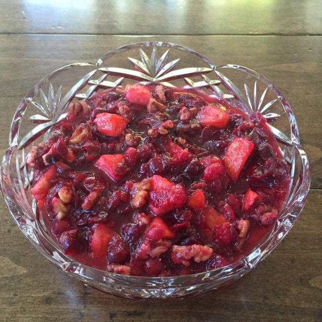 Cranberry pineapple sauce in a crystal serving dish