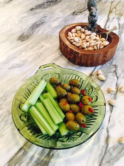 Celery, Olives, and Pistachios
