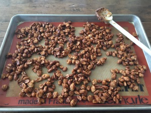 Candied Peanuts cooling on baking sheet