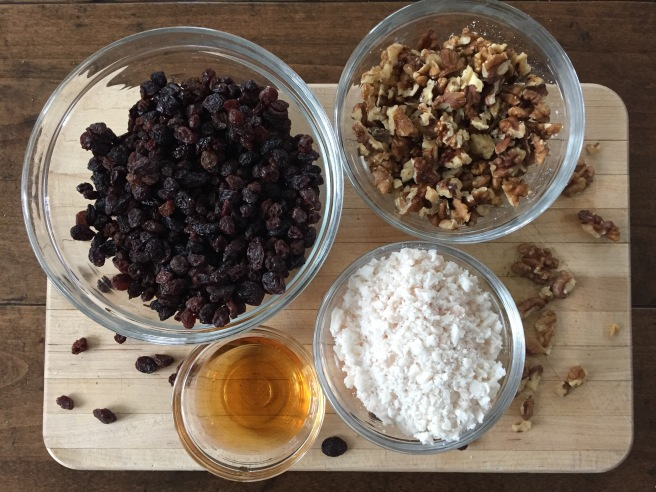Raisins, chopped walnuts, suet, and brandy