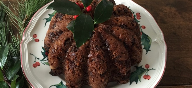 Plum Pudding with holly sprig