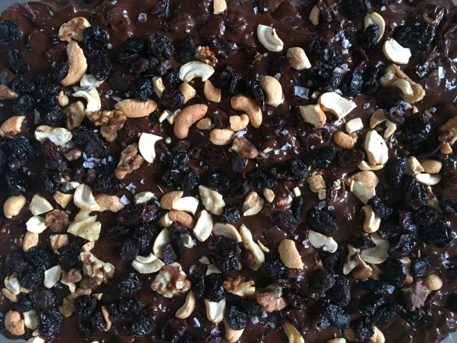 Dark chocolate bark with toasted nuts and dried fruit.