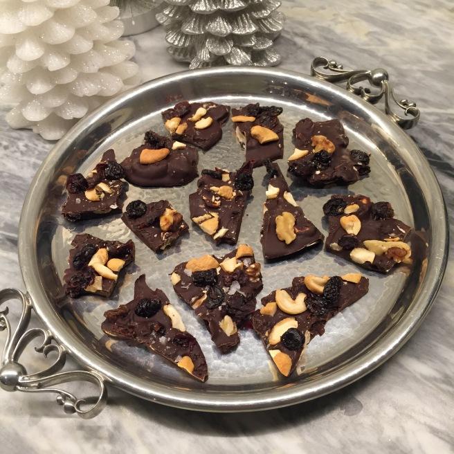 Dark Chocolate Bark on silver tray.