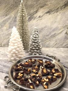 Dark Chocolate Bark on a silver tray.