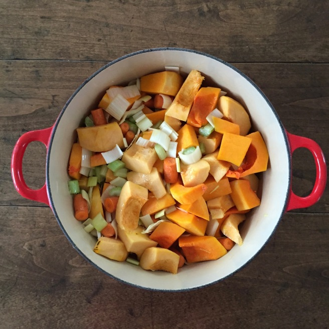Squash, leeks, carrot, and celery in dutch oven.