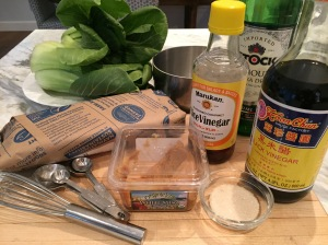 Ingredients for miso glazed fish: white miso, rice vinegar, vermouth, sugar, black vinegar