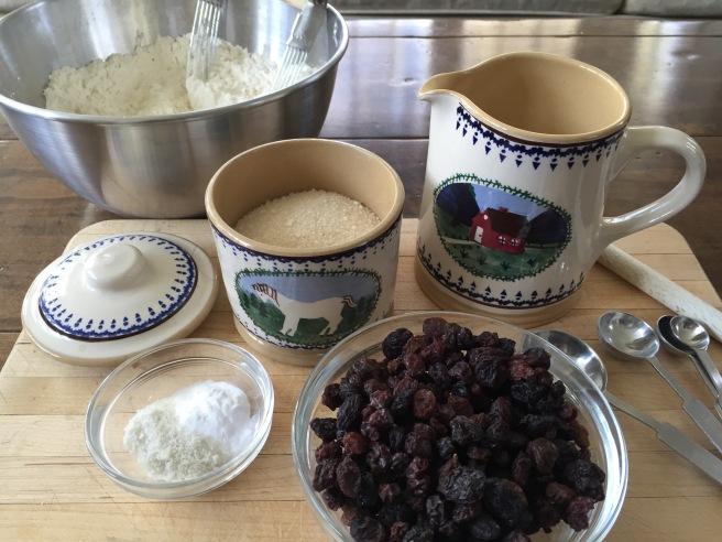 Irish Soda Bread Ingredients: flour, unsalted butter, sugar, salt, baking soda, raisins, and buttermilk.