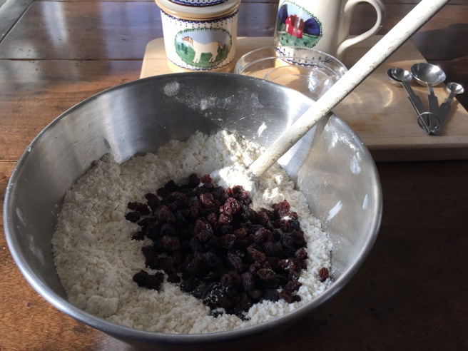 Adding raisins to dry ingredients in bowl.