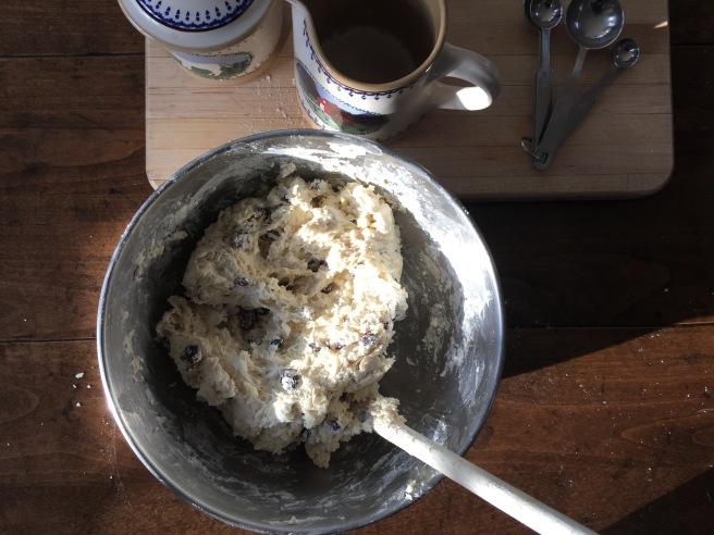 Irish soda bread dough forming in bowl.