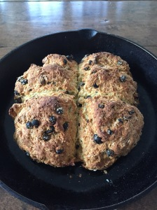 Irish Soda Bread in cast iron skillet