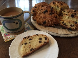 Irish Soda Bread with a cup of tea.