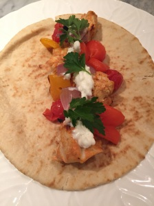 Shish Taouk on pita with grilled veggies and toum