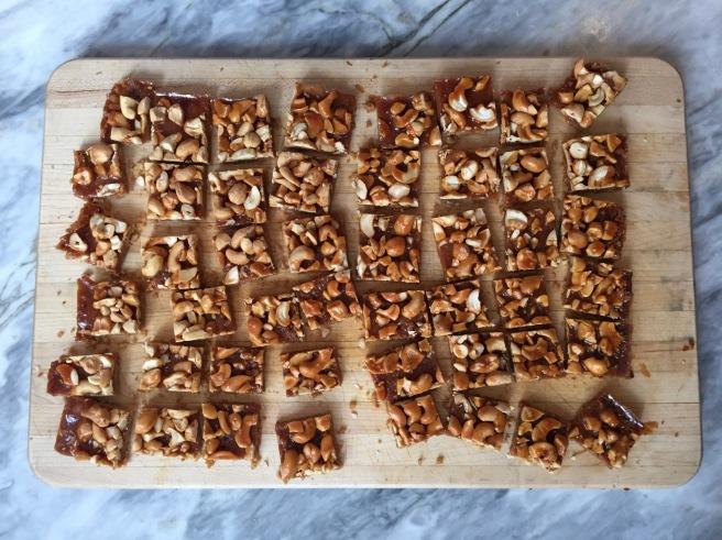 Cashew Butterscotch Bars on cutting board