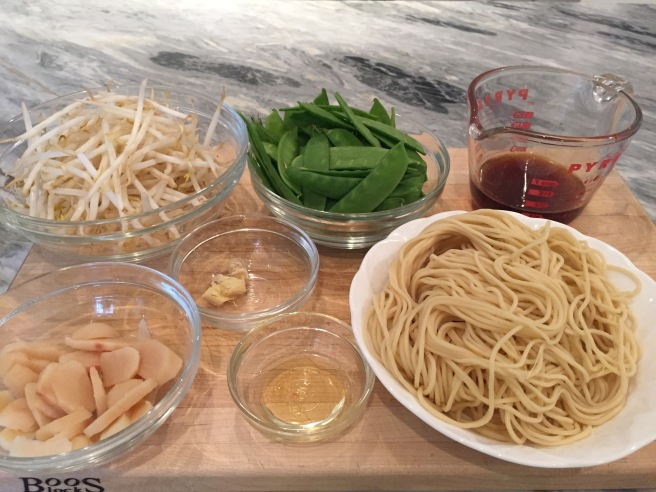 Longevity noodle ingredients: noodles, bean sprouts, snow peas, water chestnuts, ginger, peanut oil, soy sauce, chicken stock, and sesame oil.