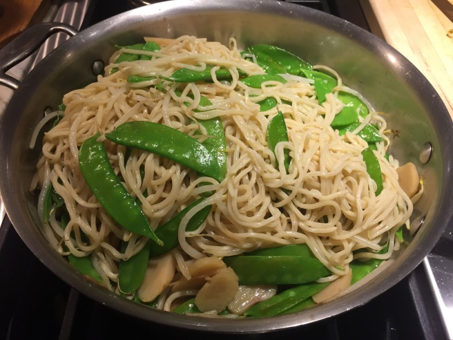 Longevity Noodles in skillet