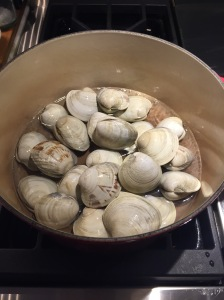 Steaming Clams in Dutch Oven