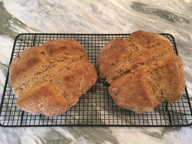 Brown Soda Bread Loaves cooling on wire rack