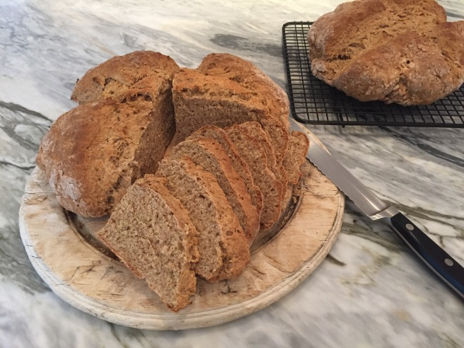 Brown Soda Bread on cutting board