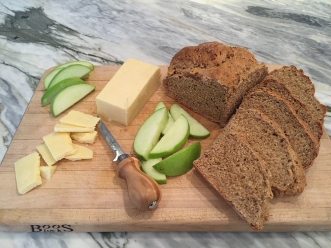 Brown Soda Bread, cheese, and apples