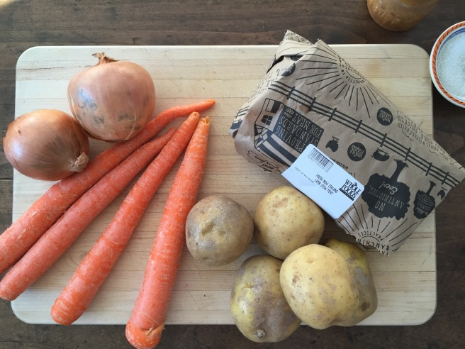 Lamb, potatoes, carrots, and onions for Irish Stew
