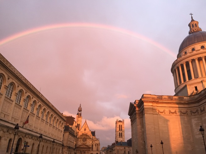 rainbow over the Pantheon and Sorbonne in paris