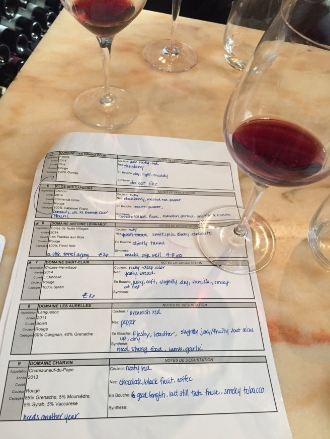 Wine tasting notes at La Dernière Goutte