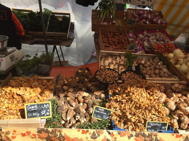Mushrooms at President Wilson Market in Paris